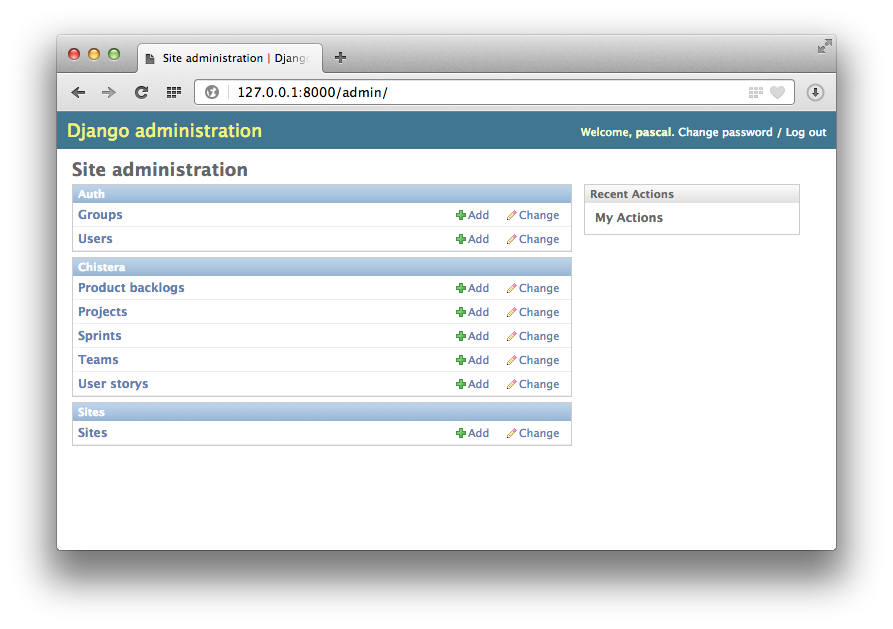 Django scaffolding administration d'une application